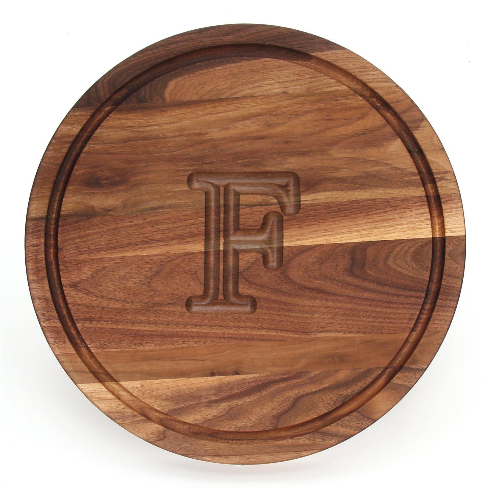 BigWood Boards W110-F Cutting Board, Monogrammed Cutting Board, Medium Round Cheese Board, Thick Walnut Wood Serving Tray, ''F''