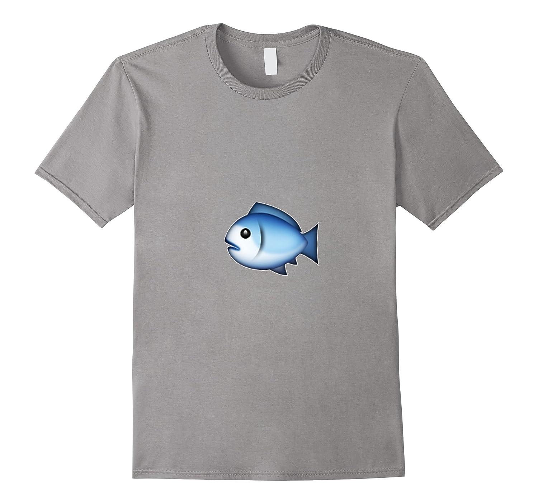 Blue Fish Emoji T-Shirt Emoticon Ocean Water Fishing-CL