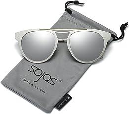 SojoS Gafas De Sol Hombres Mujeres Unisex Aviator Clásico Doble Puente SJ1051 SJ1067