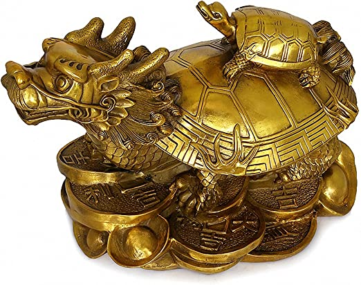 Vintage Copper Feng Shui Golden Dragon Turtle Statue Charm for Protection Fortune and Wealth Collectible Decorative Ornament as described Turtle