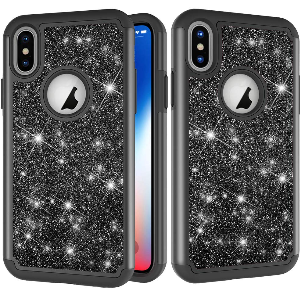 for iphone XS MAX Glitter Phone Case, QFUN Bling Shiny Skin Soft Silicone Inner + Hard Plastic Back Hybrid Double Layer 2 in 1 Shell Shockproof Anti-scratch Mobile Phone Protective Cover for iphone XS MAX Case with Screen Protector - Black FFUN