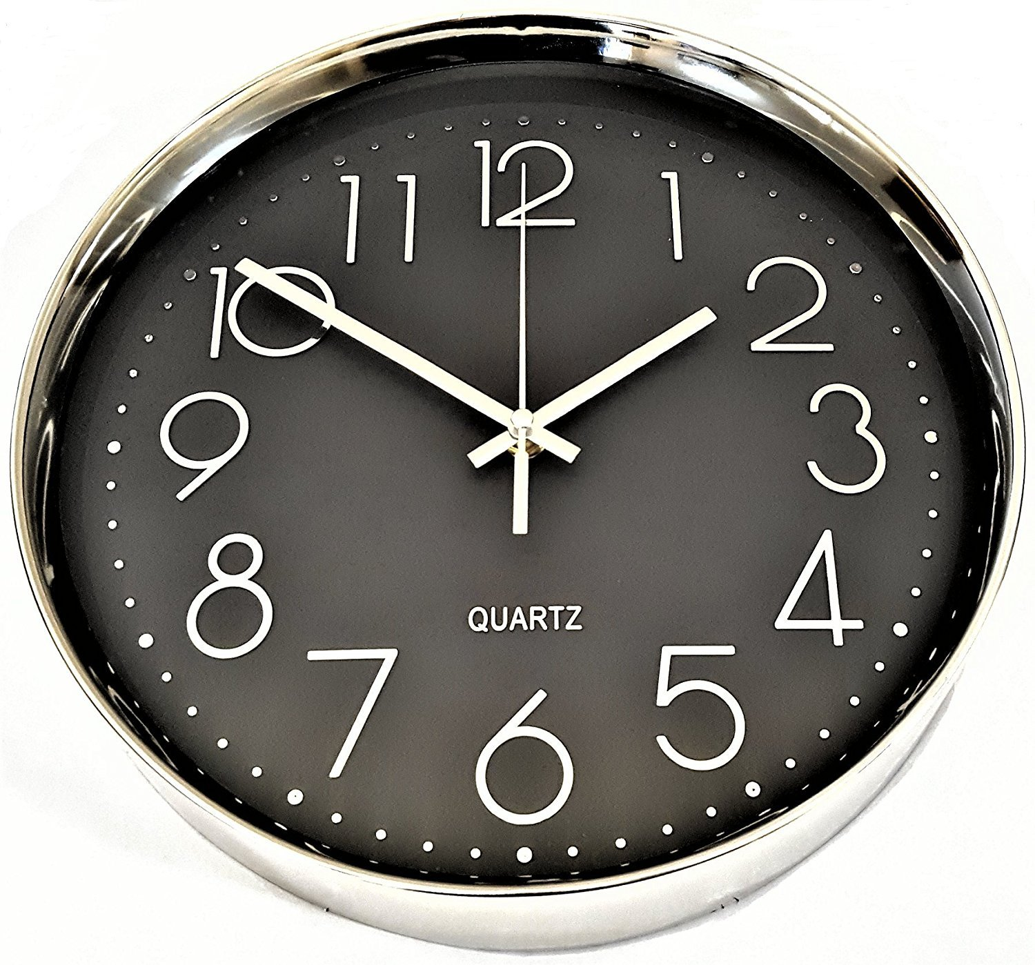Amazoncom Wall Clock Silent Black with Silver