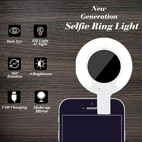 RECESKY Selfie anillo de luz, proyector de vídeo LED luces con 360 ...