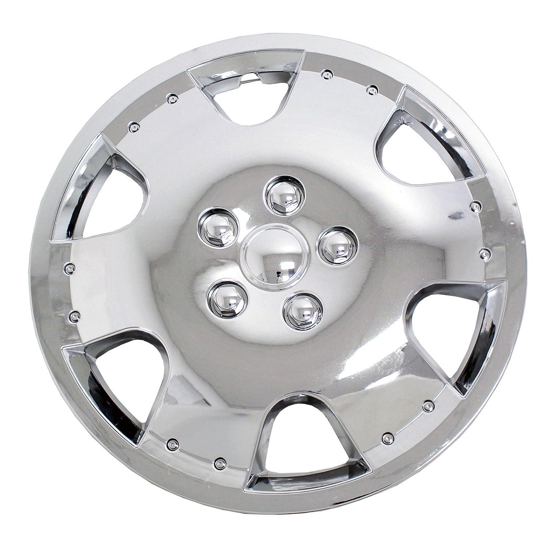 tuningpros wsc-720 C15 cromo Tapacubos rueda Skin Cover 15-inches plata conjunto de 4: Amazon.es: Coche y moto