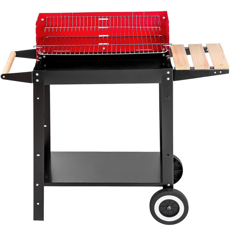 TecTake Barbacoa parrilla de carbón 86x34x80cm   móvil gracias a sus dos ruedas   asa de madera