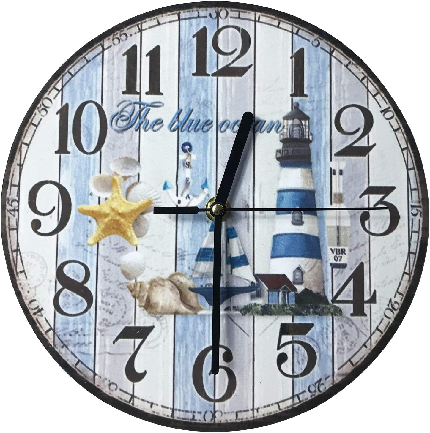 HeiBAIlong 10 Inch Wooden Wall Clock Vintage Wall Clock Blue Lighthouse for Home Office Bedroom Living Room Decor Non Ticking