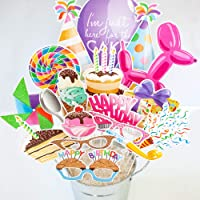 Happy Birthday Party Photo Booth Props | 18 piece set by Paper and Cake | Balloon...