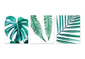 Green Tropical Leaf Botanical Wall Art 3 Piece Print Set 8x10 Unframed, Trendy Calm Monstera, Fern and Palm Leaves for Bathroom, Bedroom Home Decor