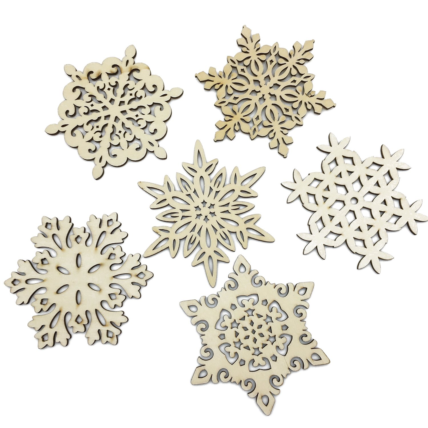 Mziart Set of 6 Snowflake Wood Coasters for Drinks and Coffee  Christmas Cup Mat  Gift Worthy
