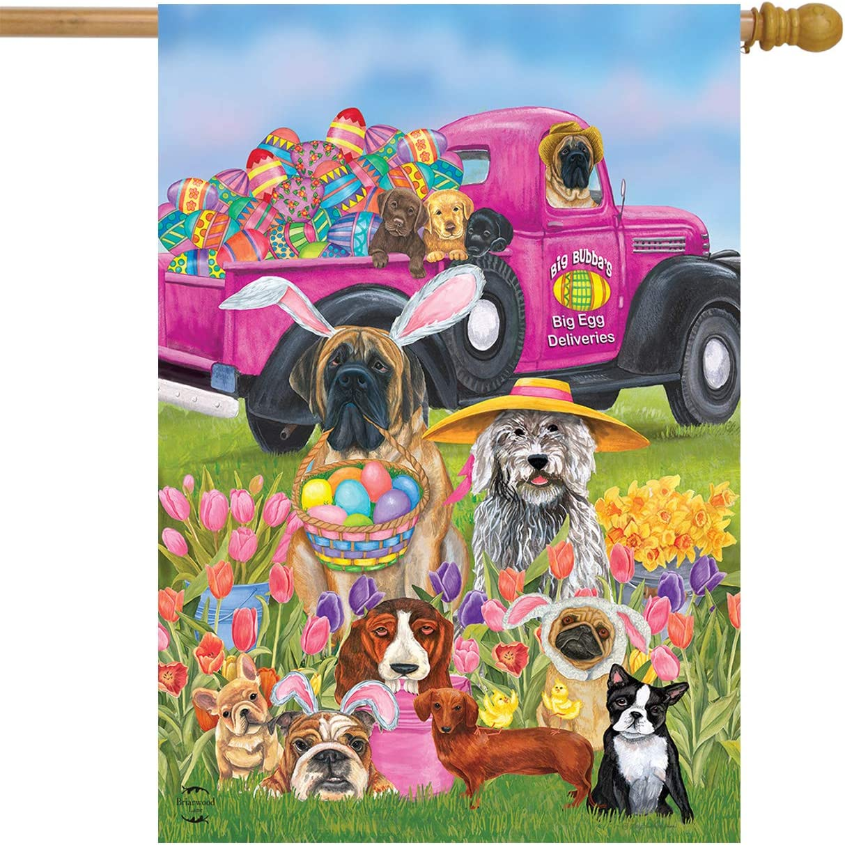 """Briarwood Lane Easter Dogs Holiday Humor House Flag Decorated Eggs 28"""" x 40"""""""