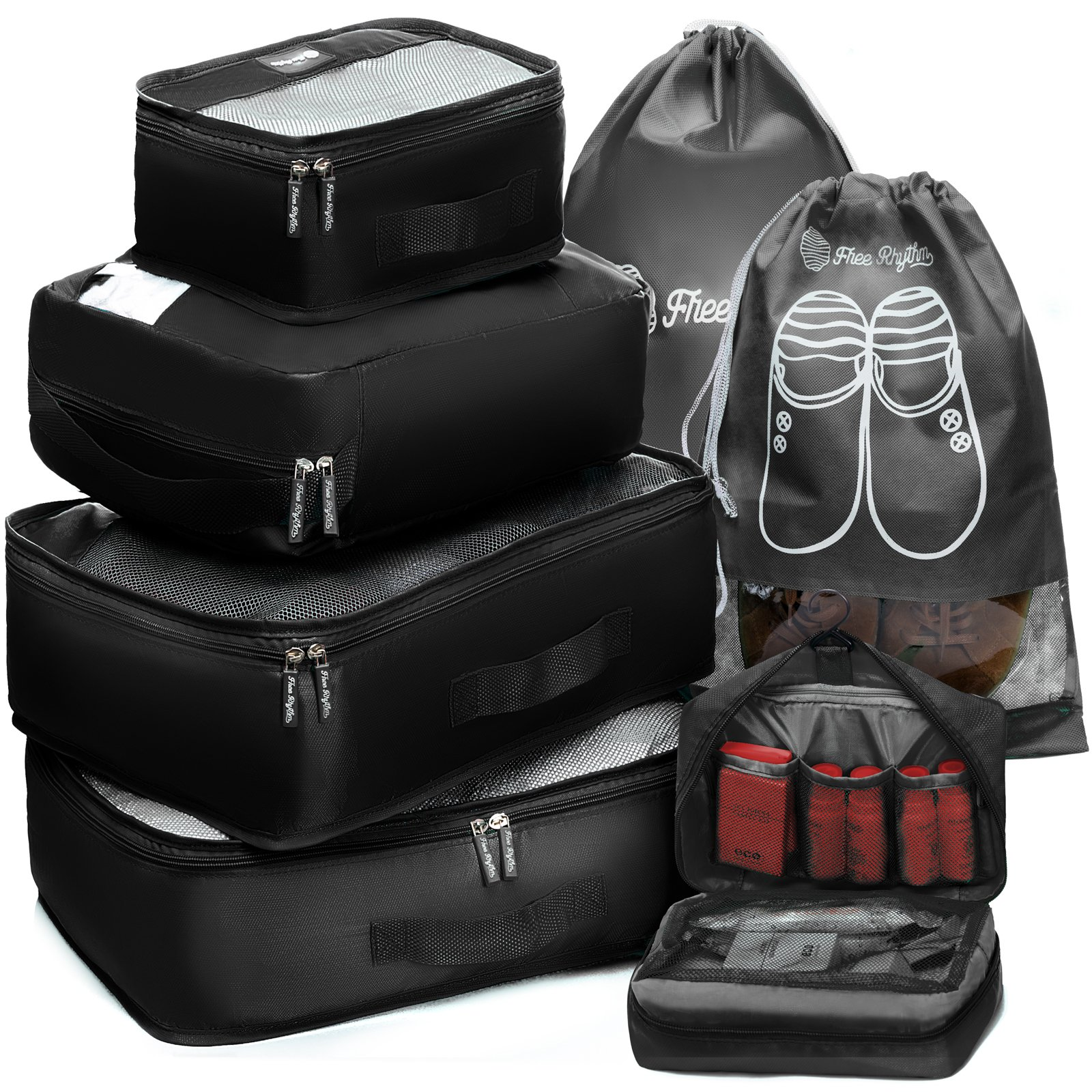 Packing Cubes Travel Set 7 Pc Luggage Carry-On Organizers Toiletry & Laundry Bag by Free Rhythm (Image #1)