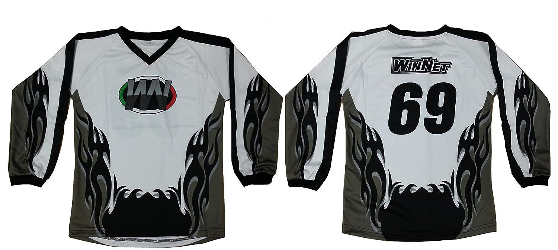 WinNet maglia maglietta per moto da cross grigio nero numero 77