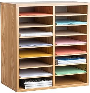 Amazon safco products wood adjustable literature organizer 24 adiroffice wood adjustable literature organizer 16 compartment medium oak solutioingenieria Choice Image