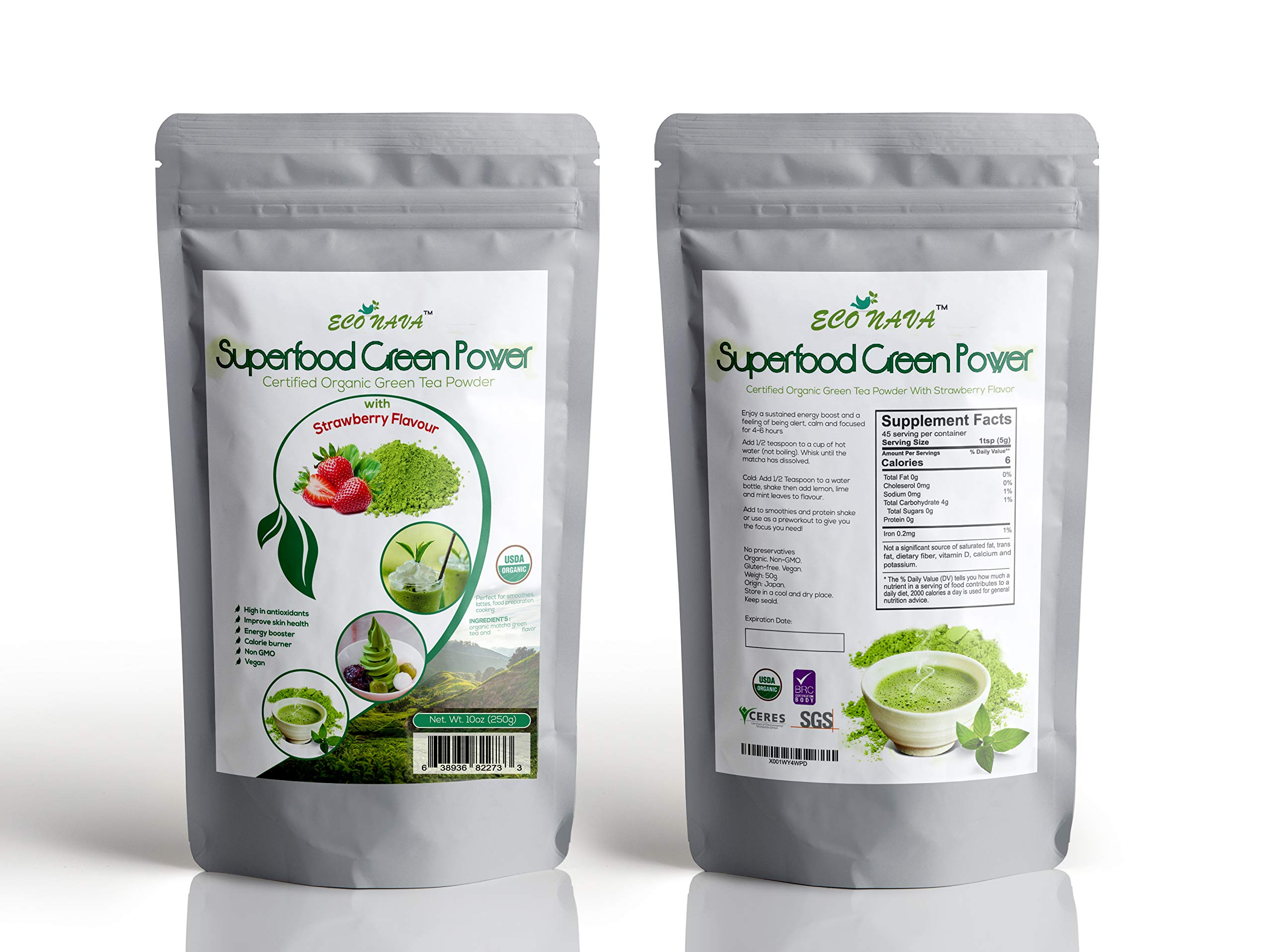 Certified 100% Natural Japanese Strawberry Matcha Green Tea Powder 250g Bag