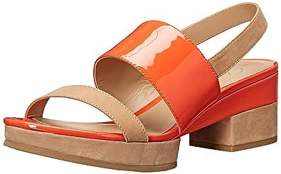 Delman Women's D-Malia-NP Platform Dress Sandal, Sand Dune Nubuck/Patent