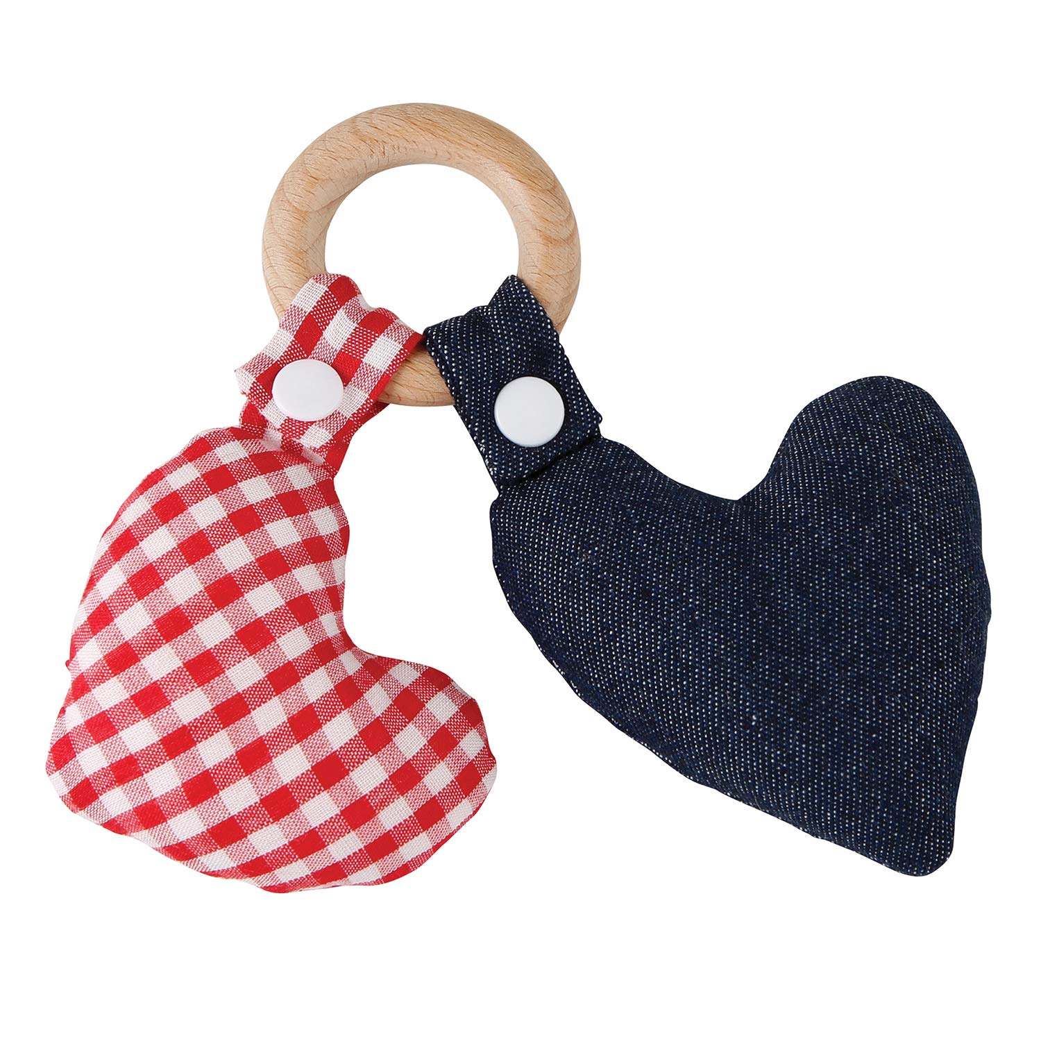 Stephan Baby Natural Beech Wood Hearts Plush Teething Toy