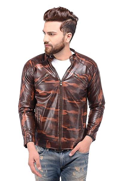7b62d21b1ce6c Veeba World Mens Stylish Camouflage Print Pu Faux Leather Jacket (Medium)