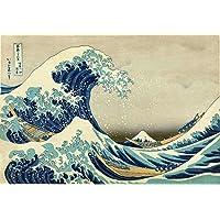 A Grande Onda de Kanagawa - Katsushika Hokusai - Tela 50x73 Para Quadro