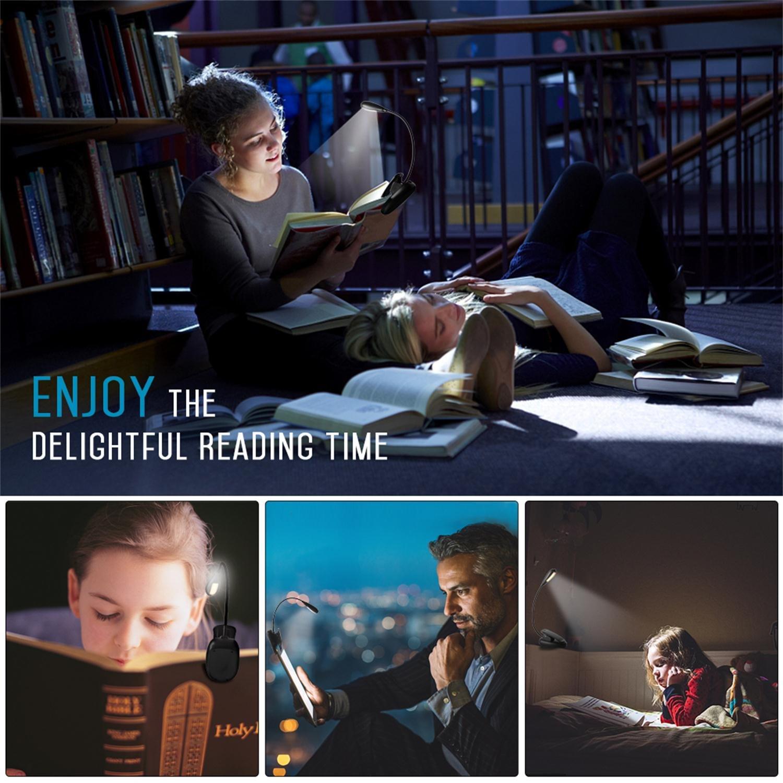 LED Reading Light, 4000K Rechargeable 7 LED Book Light, 2-level Warm Brightness and Flexible Easy Clip On Reading Lamp, Eye Protection Brightness, Best Reading Light for Bedside Night Reading
