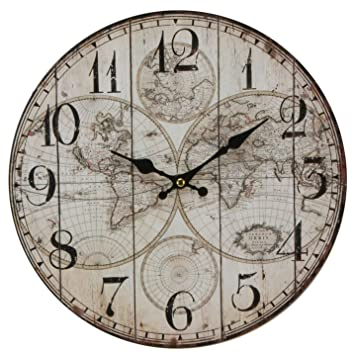 Watching Clocks Horloge Murale Style Contemporain Motif Carte Du Monde