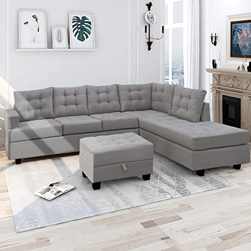 Harper Bright Designs 3 Piece Sectional Sofa with Chaise Lounge Storage Ottoman Living Room Furniture Sofa Gray