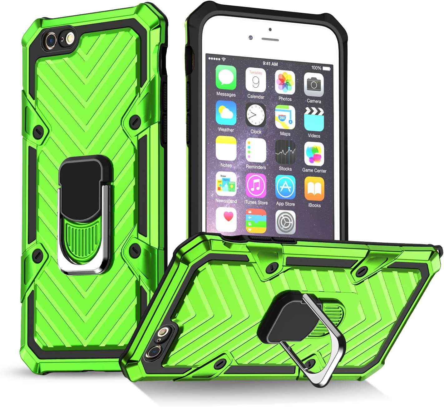 iPhone 6 Case | iPhone 6s Case | Kickstand | [ Military Grade ] 15ft. SGS Drop Tested Protective Case | Compatible for Apple iPhone 6/6S-Green (iPhone 6/6s)