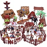 FunLittleToy 61 PCs Wild West Cowboys and Indians Plastic Figures, Toy Soldiers for Kids, Boy's War Game Educational…