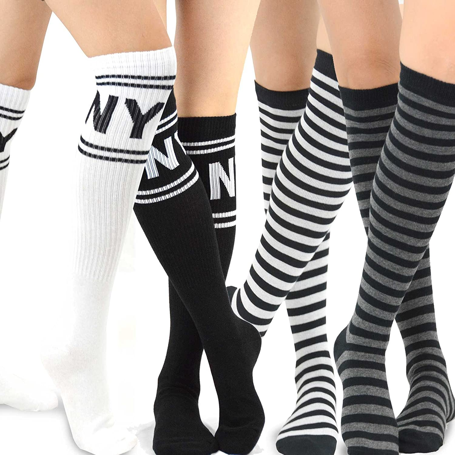 TeeHee Women's Fashion Knee High Socks - 4 Pairs Pack soxnet Inc