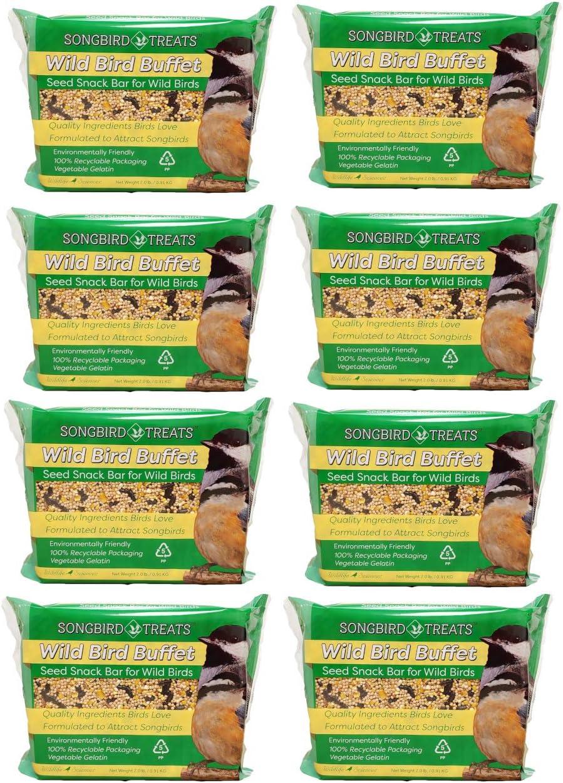 Songbird Treats Seed Bars   8 Pack of 2 lb Bird Seed Cakes for Wild Birds (Wild Bird Buffet)