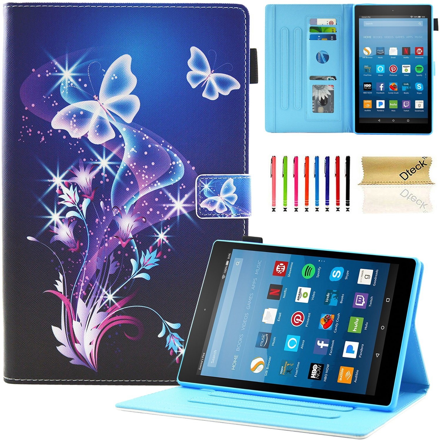 Dteck All-New Fire HD 10 Case - Slim Fit PU Leather Multi-Angle Stand Cover with Photo Frame Auto Wake/Sleep for Amazon Kindle Fire HD 10.1'' Tablet (6th/7th Gen, 2017/2016 Release), Fancy Butterfly