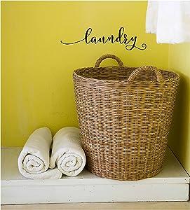 "laundry Vinyl Decal - Laundry Vinyl, Laundry Room Vinyl Lettering, Laundry Wall Vinyl, 11.25"" W x 3"" H (Black, Matte)"
