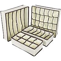 AB SALES Drawer Organisers Dividers 4 Packs Wardrobe Organiser, Collapsible Closet Cabinet Organizer Underwear Storage Boxes for Storing Socks, Bra, Handkerchiefs