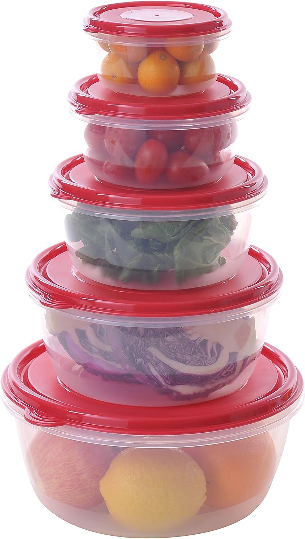 Uniware Super Large Round Plastic Food Container Set with Crimson Pe Lid, 3.6 Qt + 2.3 Qt + 1.4 Qt + 0.8 Qt + 0.4 Qt, [7514]