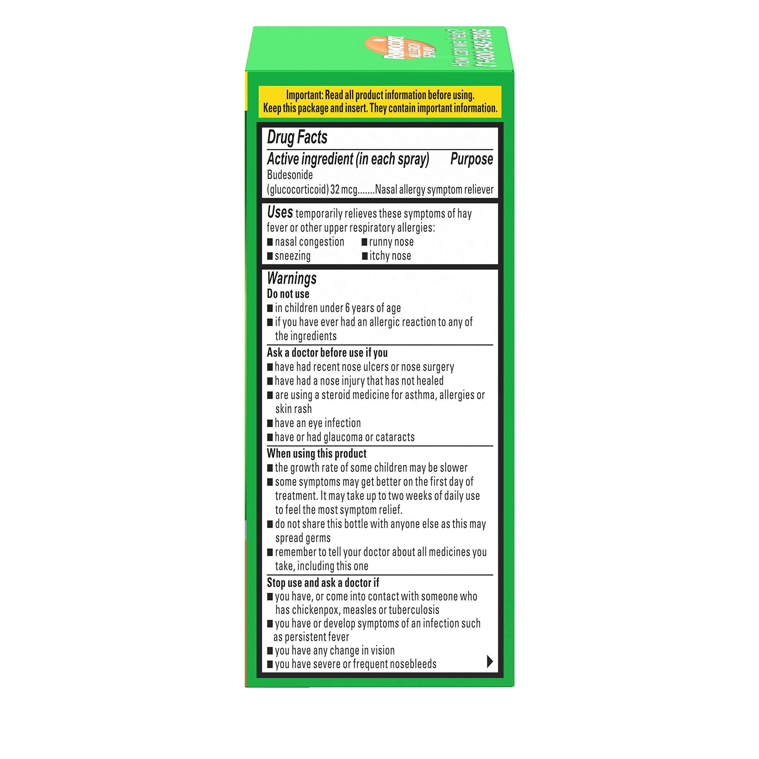 Rhinocort 24 Hour Non-Drowsy Allergy Relief Spray, 60 Sprays, 0.169 oz (Pack of 3) by rhinocort