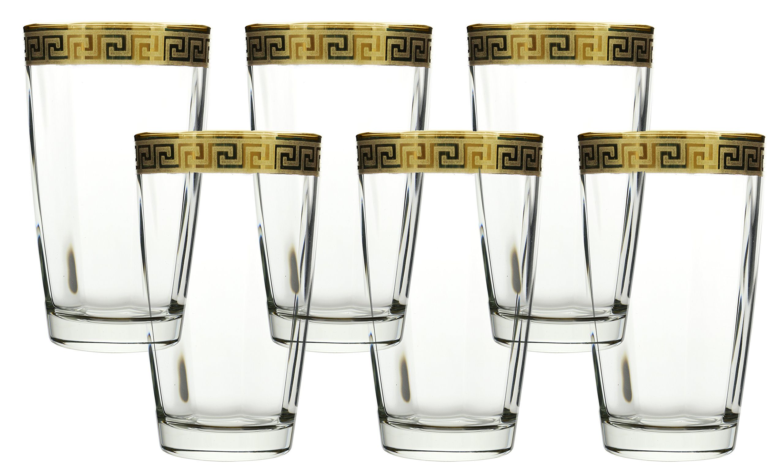 Water Glass 16 OZ. Cup Highball Yellow Gold Versace Design 6 Piece Set, Made in Italy