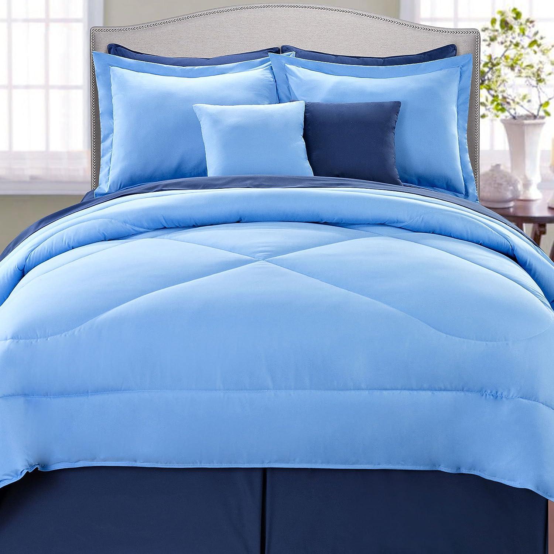Queen Chocolate//Burnt Orange BNF Home BNFCREV03-CB Serenta Reversible 10 Piece Comforter Set