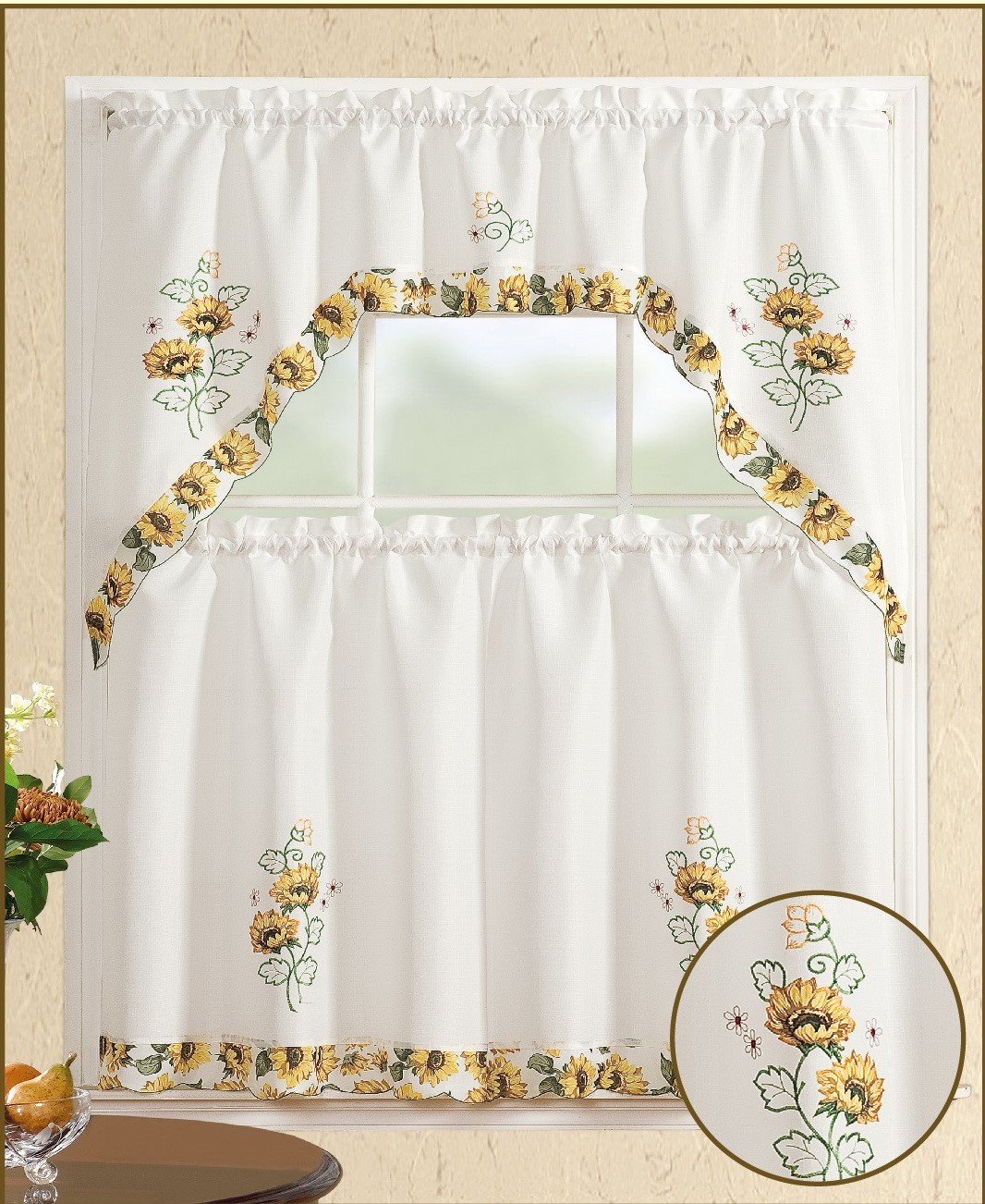 All American Collection 3pc Sunflower Kitchen Curtain Set