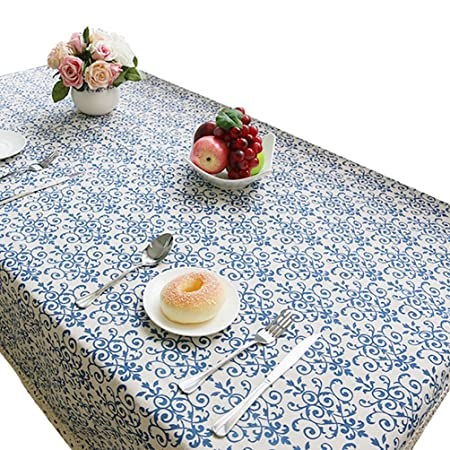 NiSeng Manteles Mesa Rectangular Vintage Mantel Antimanchas para Hosteleria, Jardin, Exterior, Cocina, Fiesta Decoracion para hogar Azul 100x140 cm