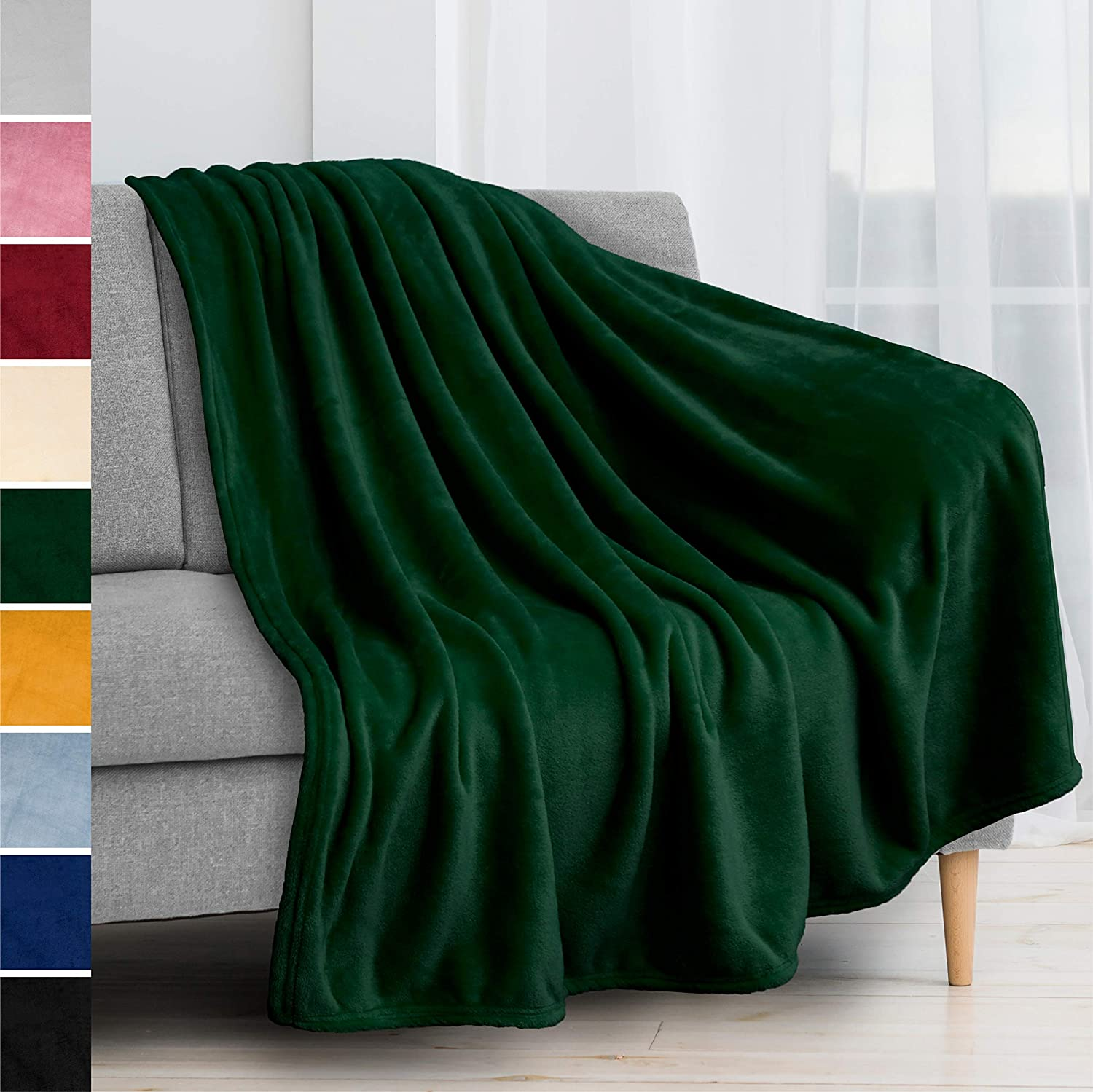 PAVILIA Fleece Blanket Throw | Super Soft, Plush, Luxury Flannel Throw | Lightweight Microfiber Blanket for Sofa Couch Bed (Emerald Green, 50x60 inches)