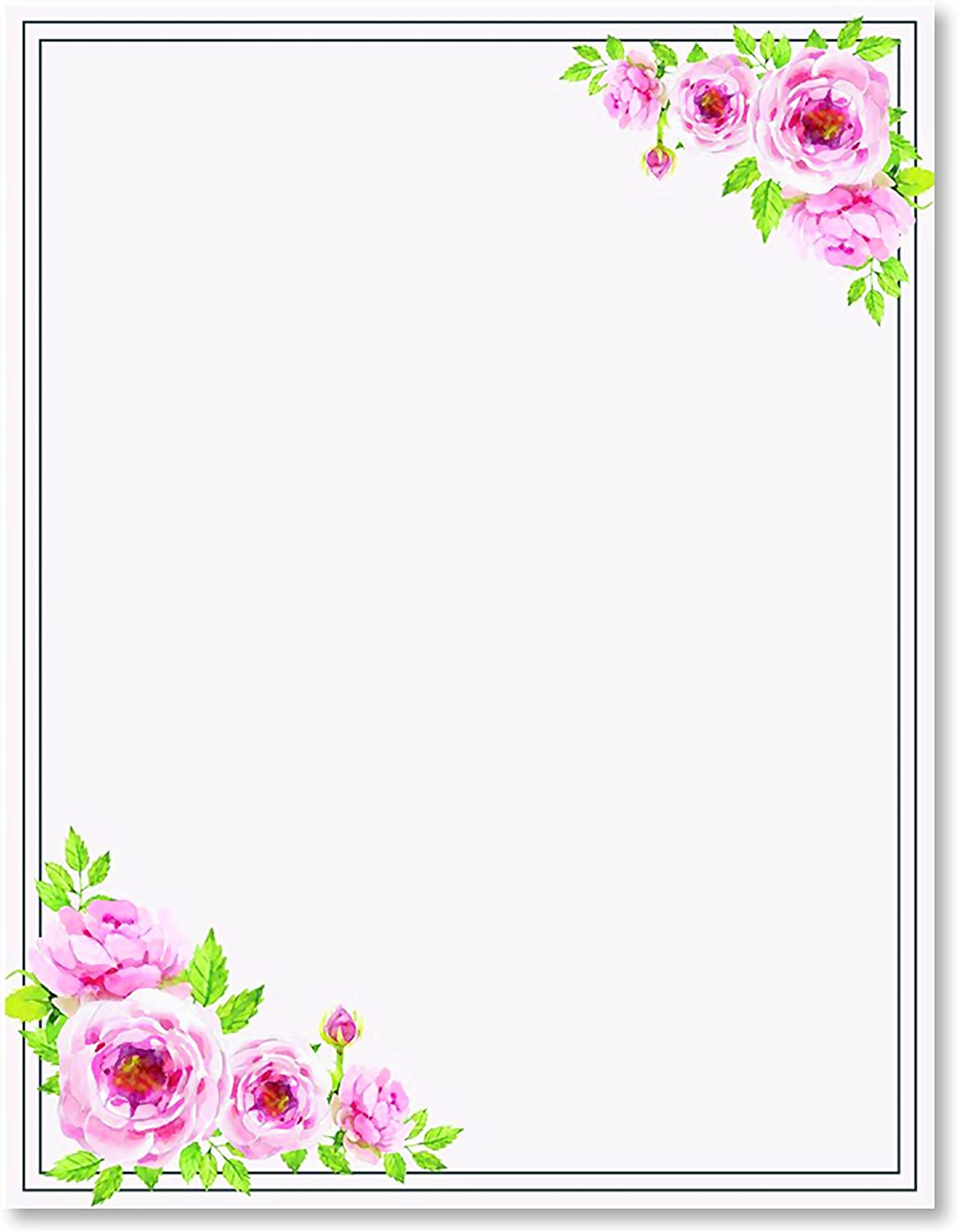100 Stationery Writing Paper, with Cute Floral Designs Perfect for Notes or  Letter Writing - Pink Roses