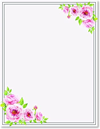 Amazon Com 100 Stationery Writing Paper With Cute Floral Designs Perfect For Notes Or Letter Writing Pink Roses Office Products