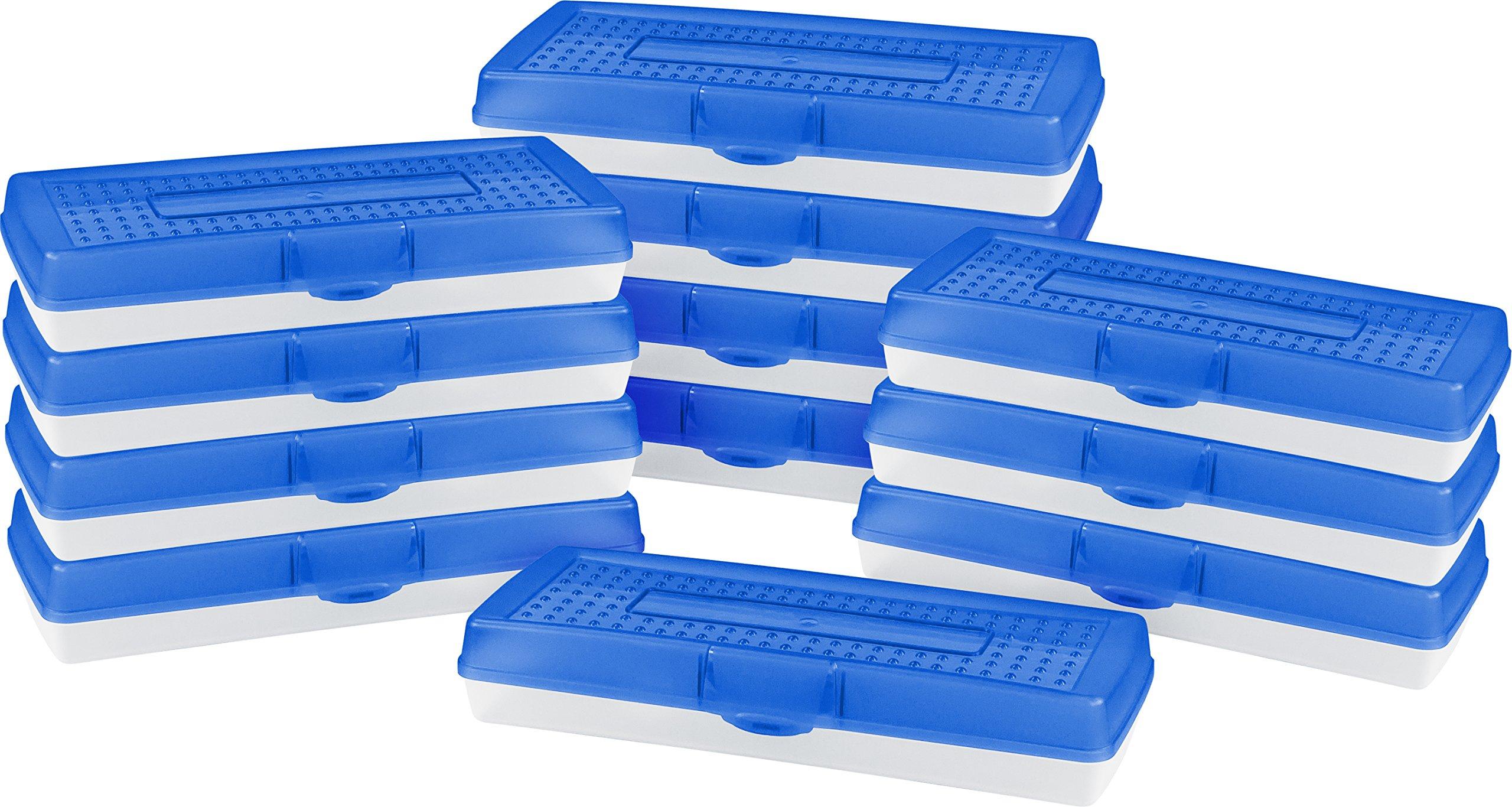 Storex Stretch Pencil Box, 5.6 x 13.4 x 2.52 Inches, Blue, Case of 12 (61467U12C)