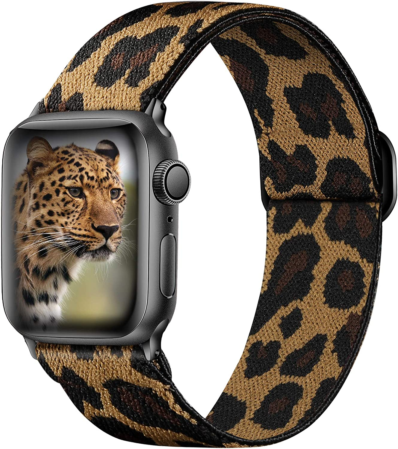Ouwegaga Adjustable Elastic Bands Compatible with Apple Watch Band 44mm 42mm iWatch SE and Series 6 5 4 3 2 1 Fashion Cute Soft Stretchy Loop Woven Fabric Wristband for Women Men Leopard Print Pattern