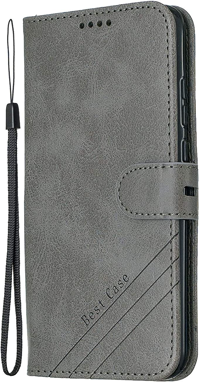 Lomogo Leather Wallet Case for Huawei P Smart 2019//Honor 10 Lite with Stand Feature Card Holder Magnetic Closure LOHEX120302 Grey Shockproof Flip Case Cover for Huawei Honor10 Lite