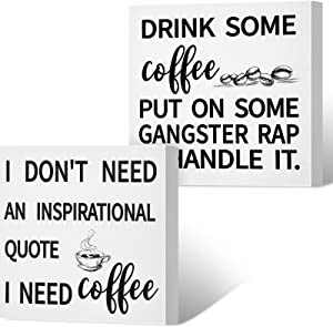 2 Pieces Coffee Box Sign Funny Coffee Bar Signs Drink Coffee Put on Some Gangster Rap and Handle It Sign Rustic Wood Farmhouse Coffee Wall Decor Sign for Home Housewarming Coffee Station 6 x 6 Inch
