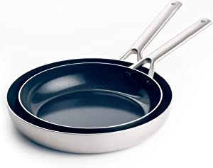 """Blue Diamond Cookware Triple Steel Diamond-Infused Ceramic Nonstick, Frying Pan Set, 9.5"""" and 11"""", Silver"""