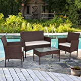 Shintenchi 4 Piece Outdoor Patio Furniture Sets, Small Wicker Patio Conversation Furniture Rattan Chair Set with Tempered Gla