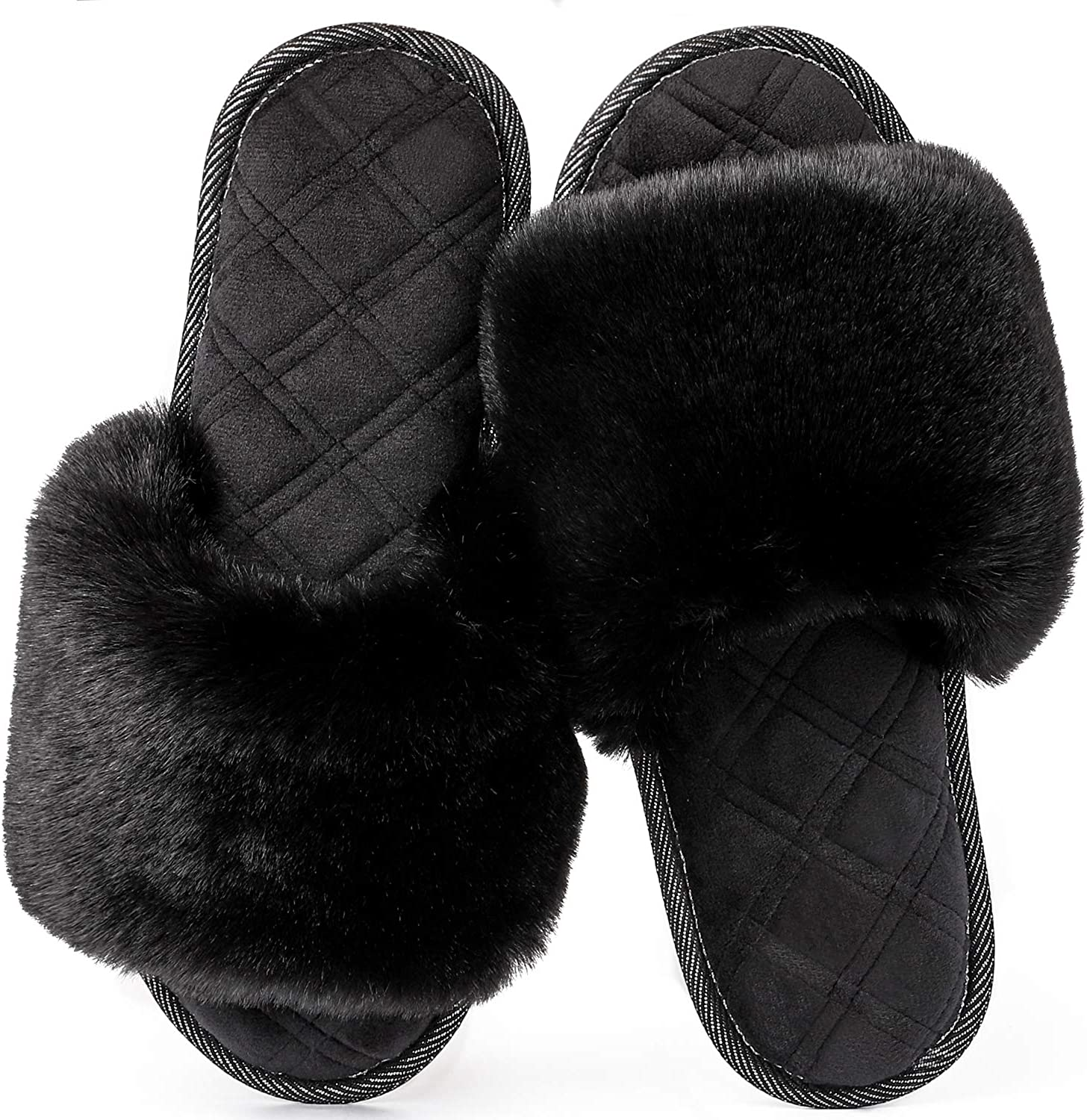 LongBay Women's Fuzzy Faux Fur Memroy Foam Flat Spa Slide Slippers Open Toe House Shoes Sandals