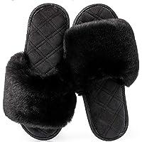 LongBay Women's Faux Bunny Fur Memory Foam House Slippers Cute Comfy Flat Slide Sandals Cozy House Shoes