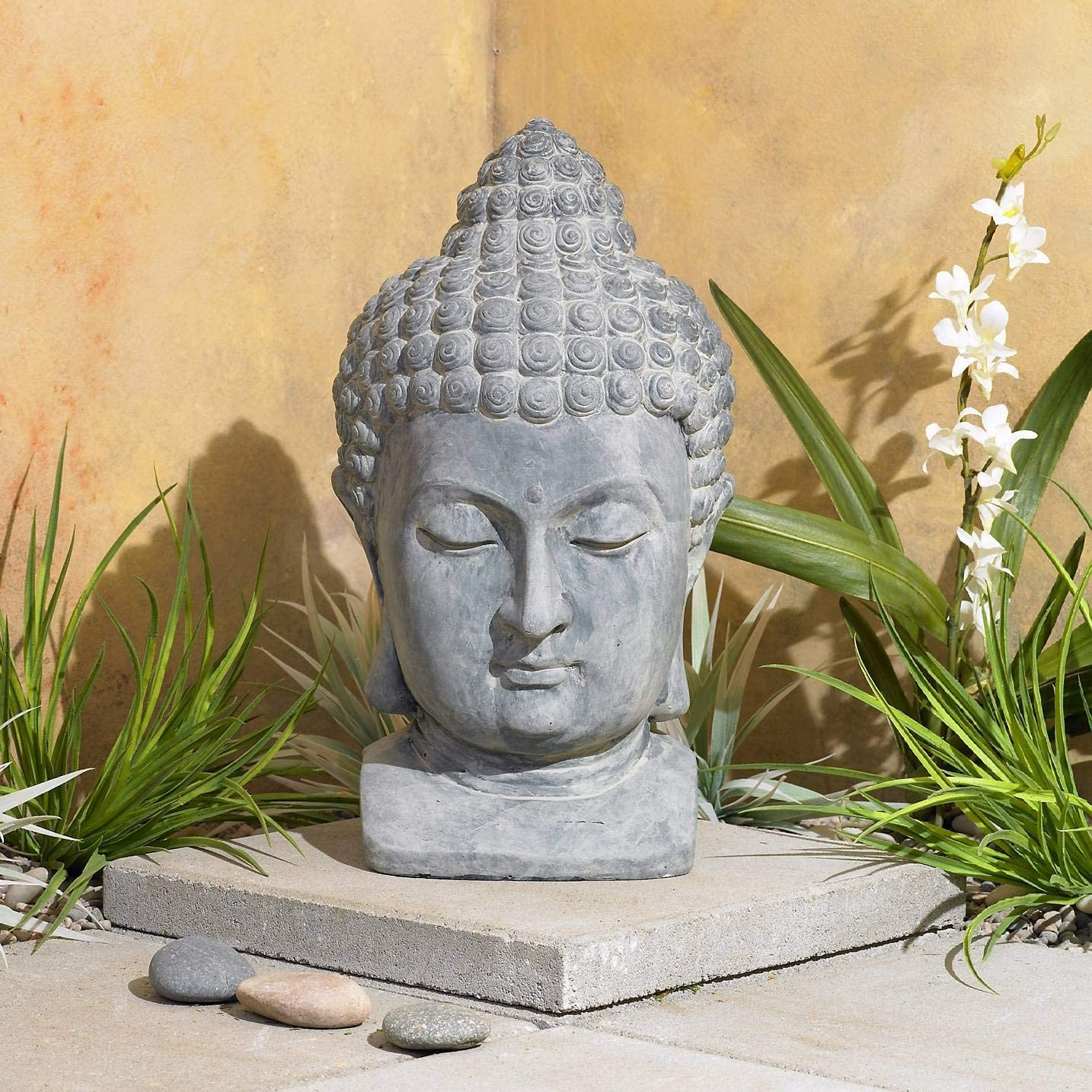 Universal Lighting and Decor Meditating Buddha Head Asian Zen Outdoor Statue 18 1/2″ High Bust Sculpture